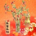 8 Curly Bamboo with Red ribbon and chinese decoration with glass