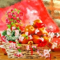 12 Orange & New Year Flowers Basket Arrangement