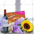 Sunflower with red wine and assorted chocolate