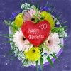 3 Pink 3 Yellow Gerberas with Happy Birthday Heart-Shaped...