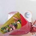 6 Gerbera Pink Hand Bouquet Special wrapping