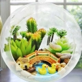 Artificial Cactus Mini Terrarium In Glass Bowl