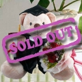 "14"" Graduation Bear with 3 Red Rose Hand Bouquet"