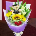 Graduate Bear 15cm With 3 SunFlowers, 2 Lilies & 3 Red Roses Hand Bouquet
