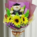 Artificial Sunflowers & Graduation Bear Hand Bouquet