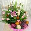 Pink Lily / Roses with Fruits