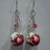 Ear Rings - Flower-E Red