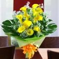 10 Cala Lily Yellow with Babybreath Handbouquet