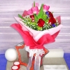 6 Pink Tulips 6 Red Roses Handbouquet.