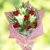 3 lily 6 red Roses Handbouquet