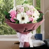 Hydrangeas, Roses & Gerbera Hand Bouquet.(2 day in advance)