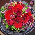 5 Roses, 5 Gerbera, Hypericum & Sweet William Flowers Hand Bouquet