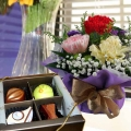 3 Mixed Carnation Standing Bouquet & 4pcs Praline Chocolate