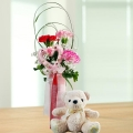 15cm Bear With 3 Mixed Carnations Standing Bouquet