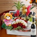 """I Love U Mum"" 18cm Lavender Bear, Flowers & Wines Basket"