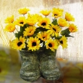 Silk Flower Arrangement with Sunflowers in a Boot Vase.