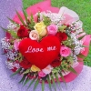12 Mixed Roses Handbouquet with Heart-Shape pillow at Ctr