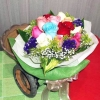 12 Mixed Roses With Cordyline Foliage Handbouquet