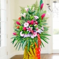 Pink Lily / Ginger flower with pink gerbera stand