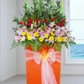 Grand Opening Stand Lilies & Mixed Gerbera Flowers Arrangement
