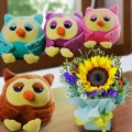 15cm OWL Soft Toy (Choose One) With SunFlower Standing Bouquet
