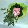 6 Peach Roses With Cordyline And Eucalyptus Leaves Handbouquet