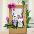 Couple Bear & 5 Purple Roses Arrangement in Hard Paper Container