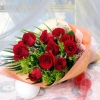 10 Red Roses in Long Wrapping Hand-Bouquet
