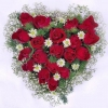 19 Red Roses arranged in Heart-Shape