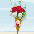 Ice Cream Cone 3 Red Roses Bouquet With Mini Love Bear.