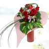 Money Plant Foliage & Red Roses Heart Shape Bouquet