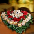 12 Red Roses & 22 Rochers With 4 inches Bear Love-Shape Table Arrangement