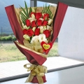 12 Red Roses Special Handbouquet with Heart-Shape Tag