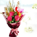 3 Plush Giant Roses ( 15cm ) With Artificial Orchids Hand Bouquet
