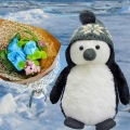 GUND Puffers Penguin 10 inches & 3 Blue Roses Delivery