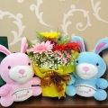 16cm Couple Bunny & 3 Mixed Gerbera Standing Bouquet