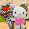 20 cm Bunny & Single Orange gerbera Bouquet