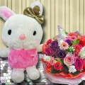 20 cm Bunny with Artificial Roses Bouquet
