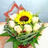 Sunflower And Champagne Rose Basket Arrangement