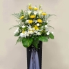 White Lily, Chrysanthemum yellow & White roses arrangement...