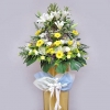 White Lily and Yellow flower On box stand 5 feet height