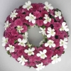 White Orchid & Purple Pom 16inches Sympathy Wreath (without stand)