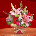 Pink Lilies & Roses With Red Gerberas