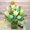6 Lily 6 Blue Roses with Bear in Glass Vase