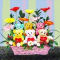 8 Gerberas & 6 Bears in Basket Arrangement