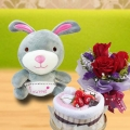 Cake Made By Towels, 18cm Rabbit & 3 Roses