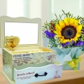 Musical Box with Sunflower Standing Bouquet.
