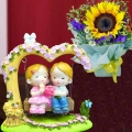 Sunflower Standing Bouquet & Swinging Couple