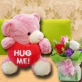 10 inches (Hug Me) Pink Bear & 3 Mixed Roses Standing Bouquet