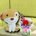 30cm Plush Toy Puppy & 3 Mixed Roses Standing Bouquet
